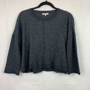 Madewell Cropped Sweater 3/4 Sleeve Gray Small